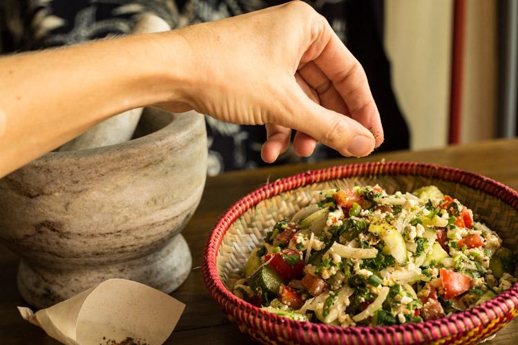 Salad and hand